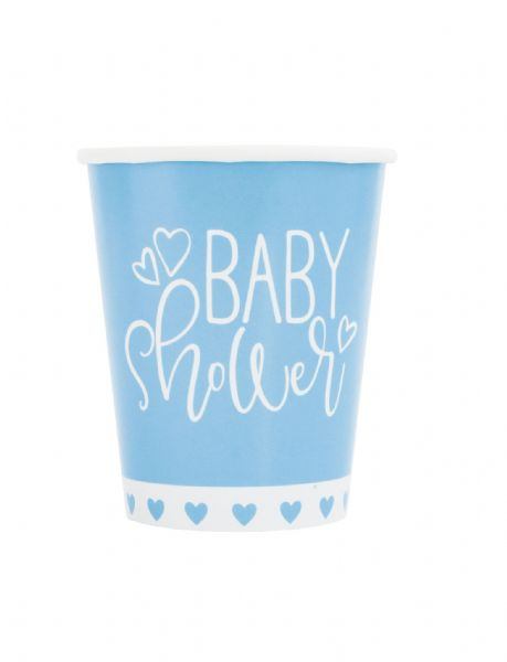 Blue Hearts Baby Shower Paper Cups (8)